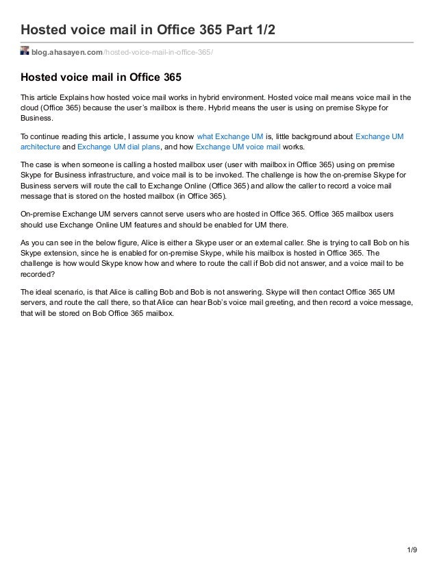 Hosted voice mail in office 365