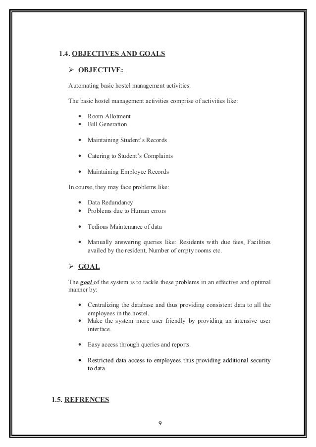 System Requirement Document For Hostel Management System