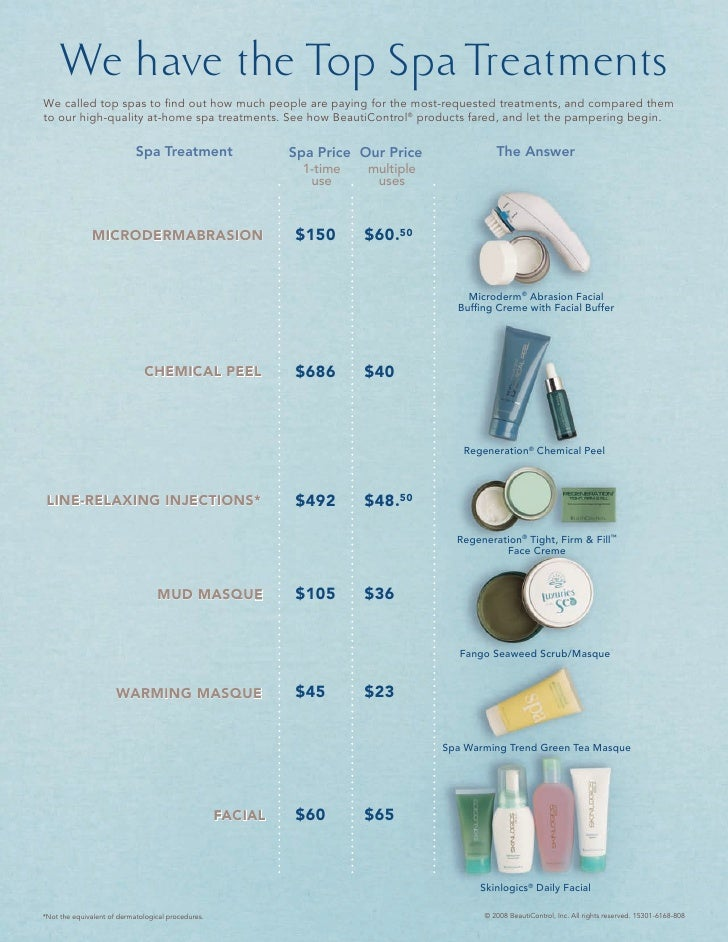 We have the Top Spa Treatments We called top spas to find out how much people are paying for the most-requested treatments,...