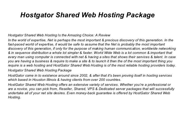 Hostgator Shared Web Hosting Package Hostgator Shared Web Hosting Is the Amazing Choice: A Review In the world of expertis...