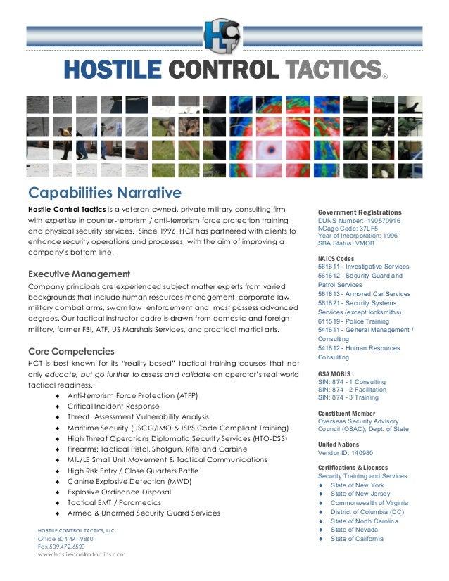 HOSTILE CONTROL TACTICS® Capabilities Narrative Hostile Control Tactics is a veteran-owned, private military consulting fi...