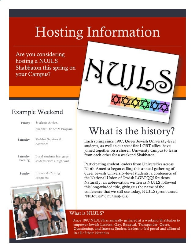 Hosting Information Are you considering hosting a NUJLS Shabbaton this spring on your Campus?Example Weekend   Friday   St...
