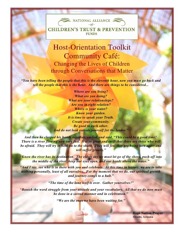 Host-Orientation Toolkit                         Community Café:                       Changing the Lives of Children     ...
