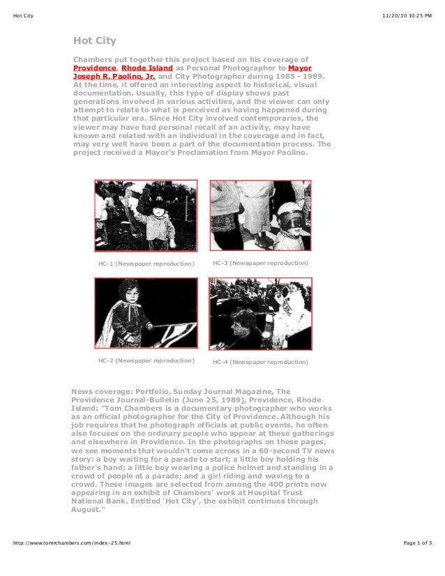 11/20/10 10:25 PMHot City Page 1 of 3http://www.tomrchambers.com/index-25.html Hot City Chambers put together this project...