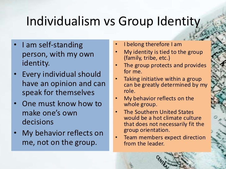 Individualism vs Group Identity• I am self-standing        • I belong therefore I am  person, with my own       • My ident...
