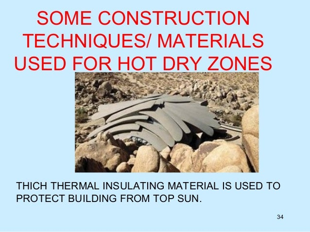 Hot and dry climate for List of materials used to build a house