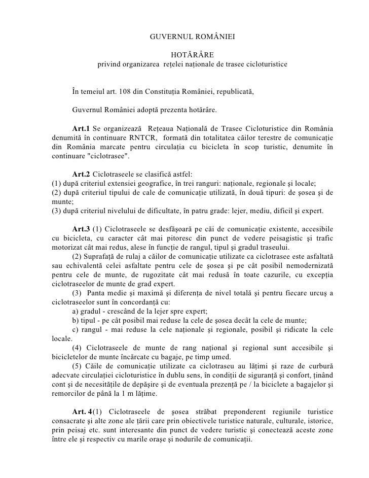 GUVERNUL ROMÂNIEI                                        HOTĂRÂRE                privind organizarea reţelei naţionale de ...