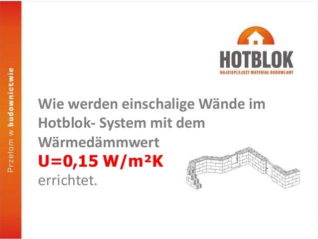 Wie werden einschalige Wände im Hotblok- System mit dem Wärmedämmwert U=0,15 W/m²K errichtet.