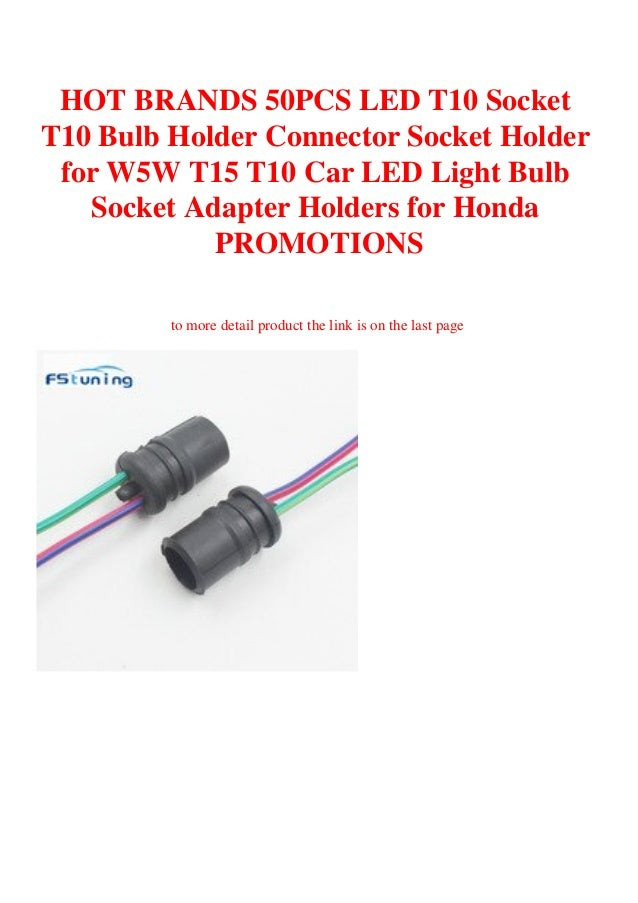 50pcs T10 LED Light Bulb Socket Holder Wiring Harness Connector for Car Auto