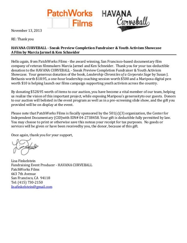 November 13, 2013 RE: Thank you HAVANA CURVEBALL - Sneak Preview Completion Fundraiser & Youth Activism Showcase A Film by...