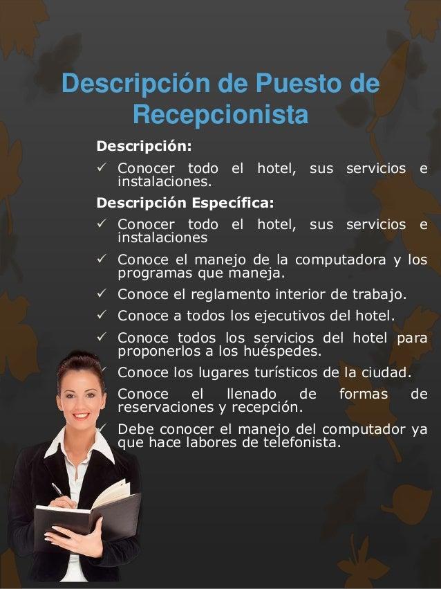 Contemporáneo Hotel Recepción Recepcionista Descripción Del Trabajo ...