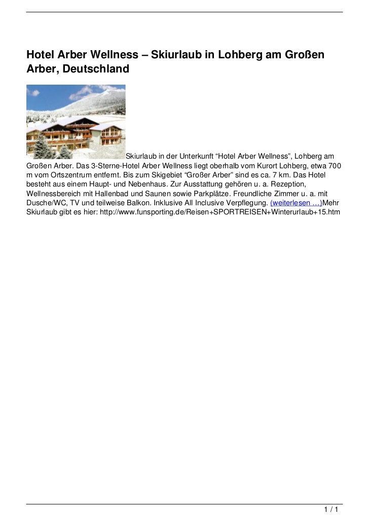 Hotel Arber Wellness 8211 Skiurlaub In Lohberg Am Grossen Arber De