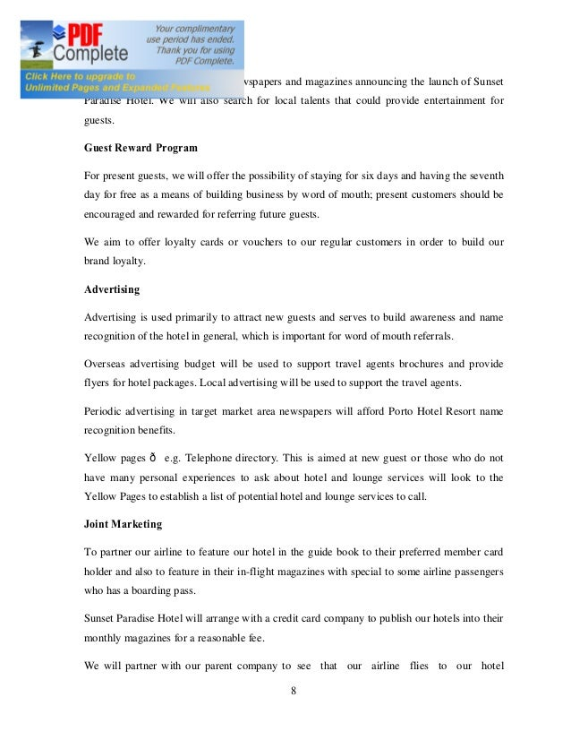 Hotel Business Plan Sample