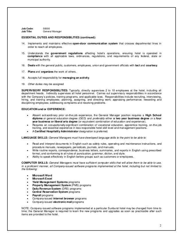 Job Code: 50000Job Title: General ManagerESSENTIAL DUTIES ...