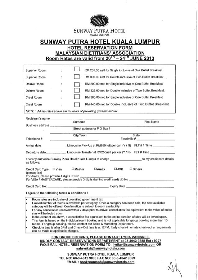 Hotel reservation form malaysian dietitians association 20 24 jun hotel reservation form malaysian dietitians association 20 24 june 2013 sunway putra thecheapjerseys Choice Image