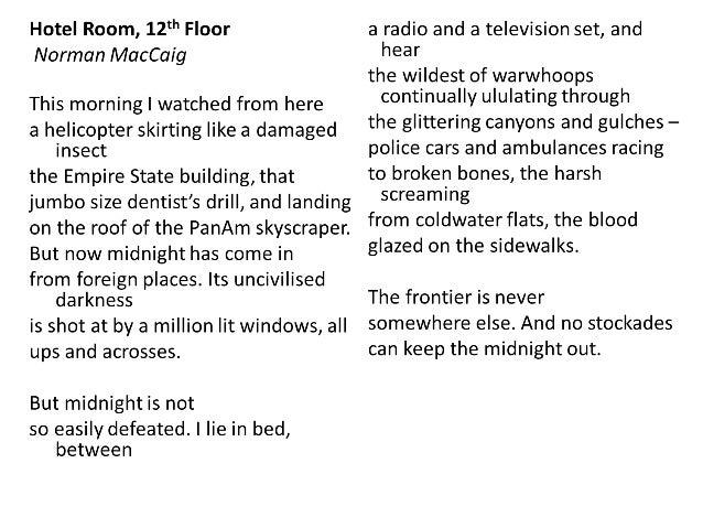 Norman Maccaig Hotel Room Th Floor