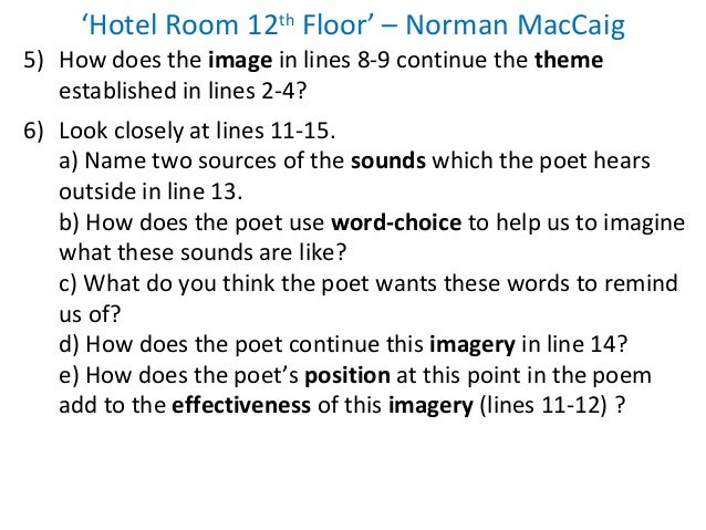 'Hotel Room 12th Floor' by Norman Maccaig Critical Evaluation Essay