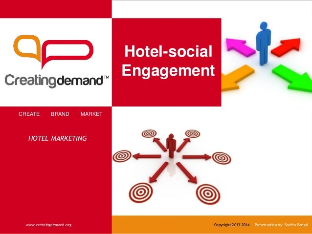 Hotel-social Engagement CREATE BRAND MARKET www.creatingdemand.org Copyright 2013-2014 Presentation by: Sachin Bansal HOTE...