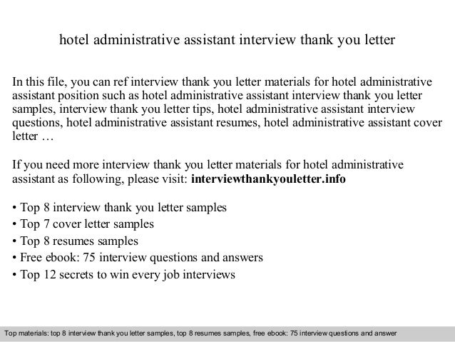 hotel administrative assistant interview thank you letter in this file you can ref interview thank