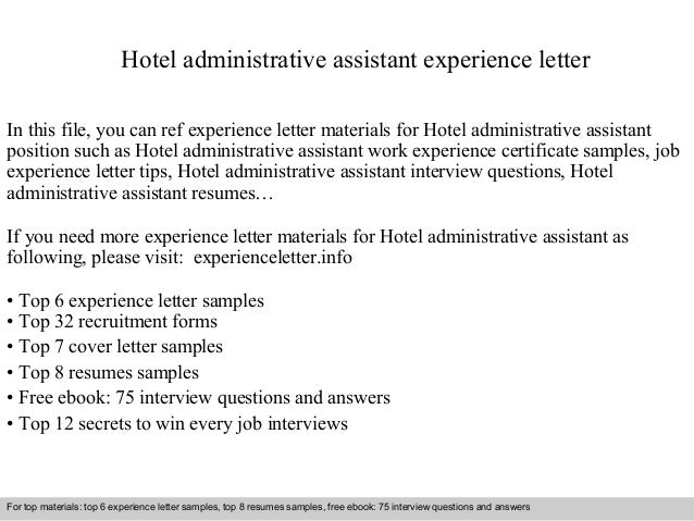 hotel administrative assistant experience letter in this file you can ref experience letter materials for experience letter sample - Cover Letter Sample Administrative Assistant