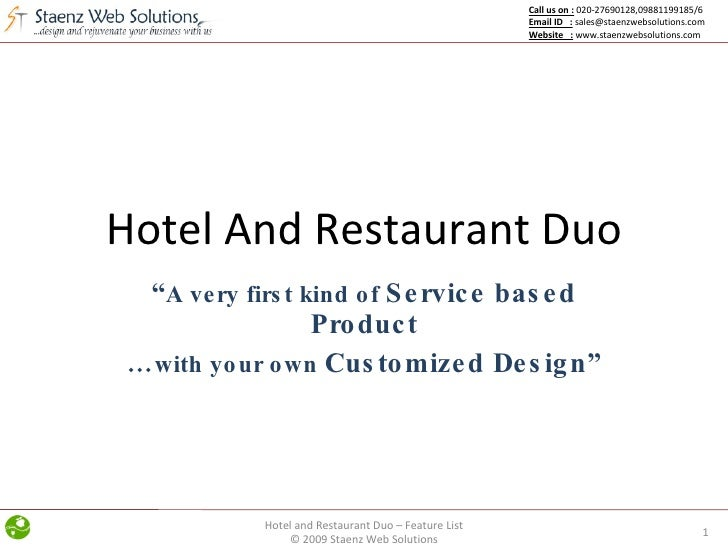 "Hotel And Restaurant Duo "" A very first kind of  Service based Product … with your own  Customized Design"" Hotel and Resta..."