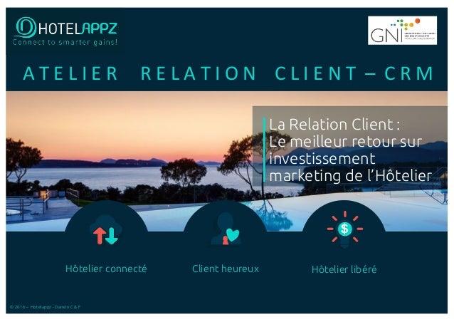 Hôtelier connecté Client heureux Hôtelier libéré © 2016 – Hotelappz - Darwin C & F La Relation Client : Le meilleur retour...