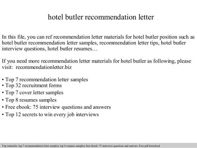hotel butler recommendation letter