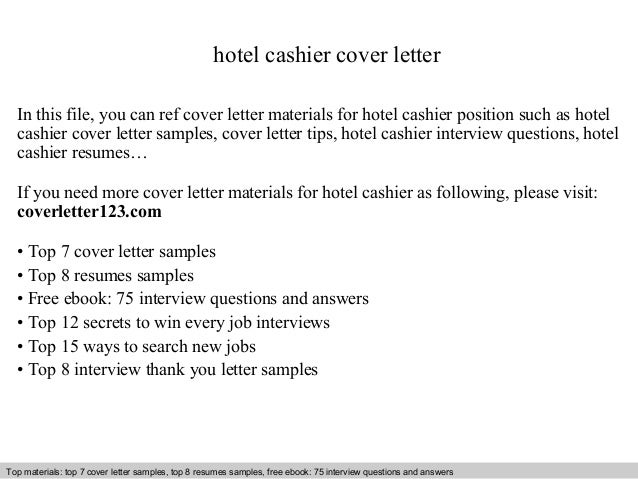 Cover Letter For A Cashier Position. Hotel Cashier Cover Letter .  Cover Letter For Cashier