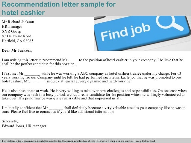 Hotel Cashier Recommendation Letter