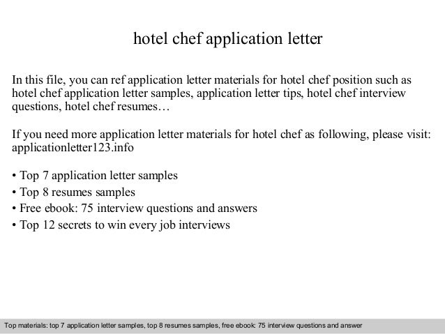 Hotel chef application letter hotel chef application letter in this file you can ref application letter materials for hotel application letter sample spiritdancerdesigns Image collections