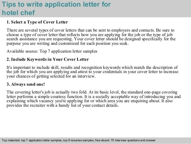 Hotel chef application letter
