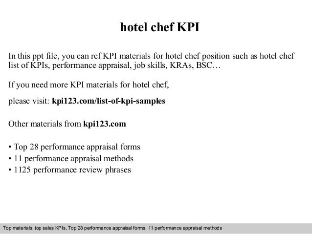 hotel chef KPI  In this ppt file, you can ref KPI materials for hotel chef position such as hotel chef  list of KPIs, perf...