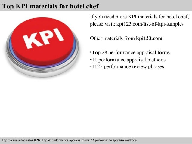 Top KPI materials for hotel chef  If you need more KPI materials for hotel chef,  please visit: kpi123.com/list-of-kpi-sam...