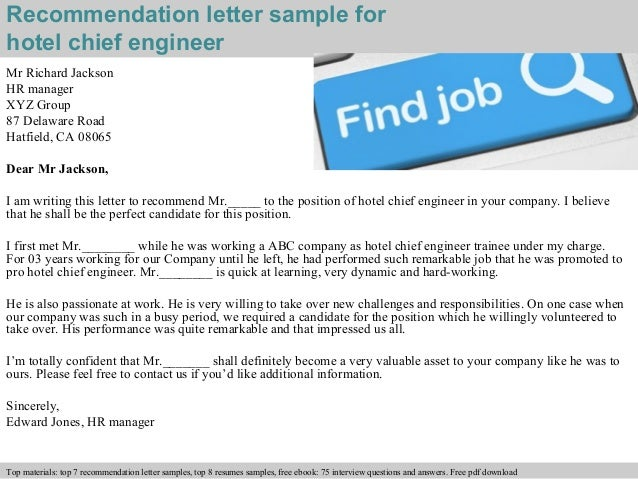 Hotel chief engineer recommendation letter