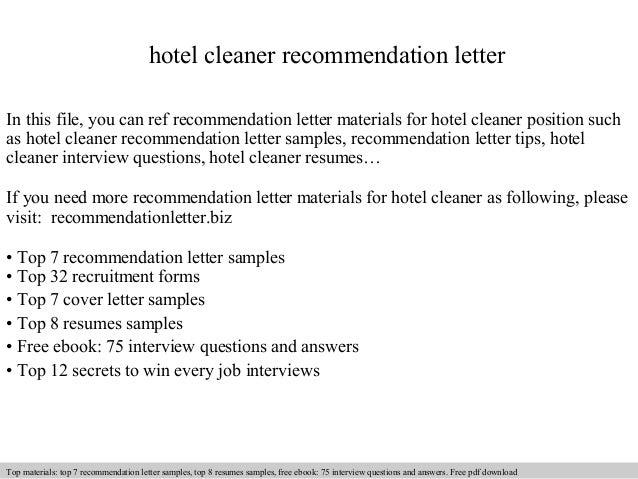 hotel cleaner recommendation letter
