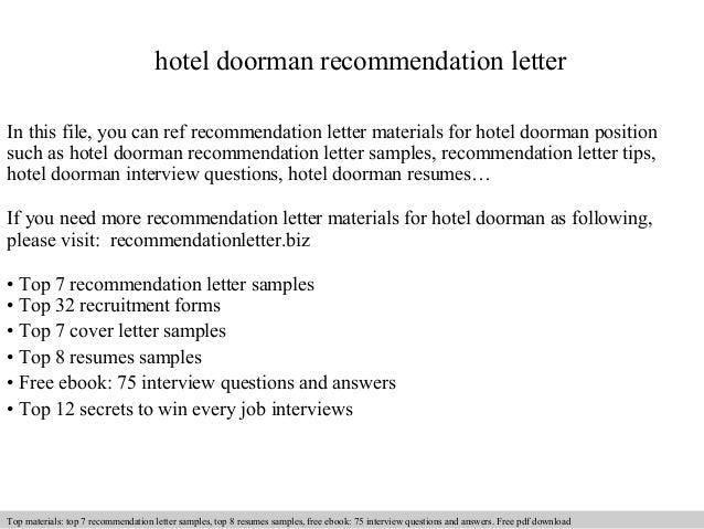 hotel doorman recommendation letter