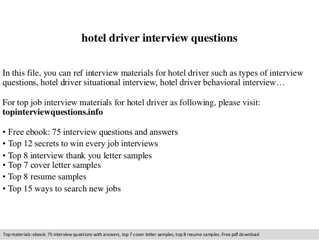 Hotel Driver Interview Questions