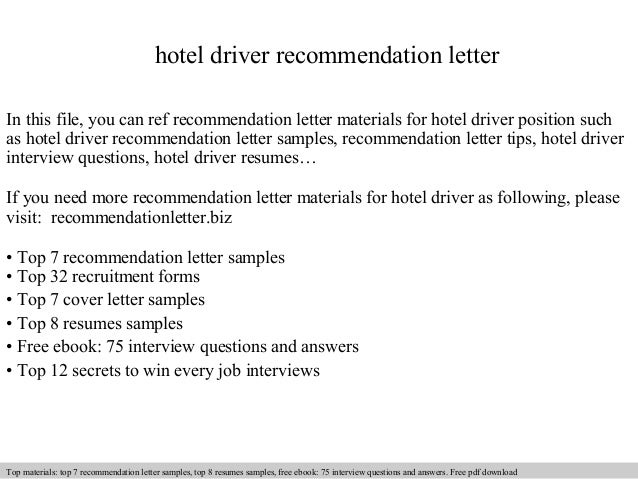 Hotel Driver Recommendation Letter In This File, You Can Ref Recommendation  Letter Materials For Hotel ...