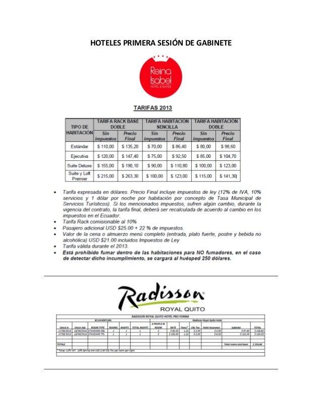 HOTELES PRIMERA SESIÓN DE GABINETE