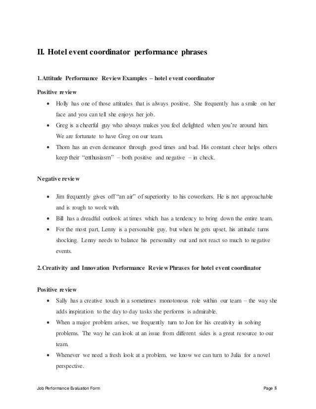 HotelEventCoordinatorPerformanceAppraisalJpgCb