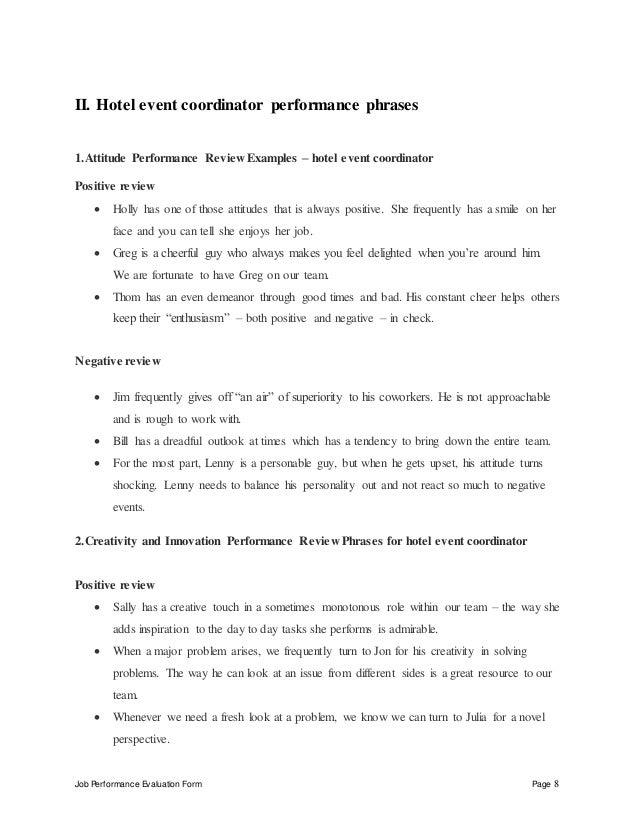 Job Performance Evaluation Form Page 8 II. Hotel Event Coordinator ...