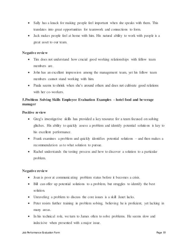 Job Performance Evaluation Form Page 10  Sally has a knack for making people feel important when she speaks with them. Th...