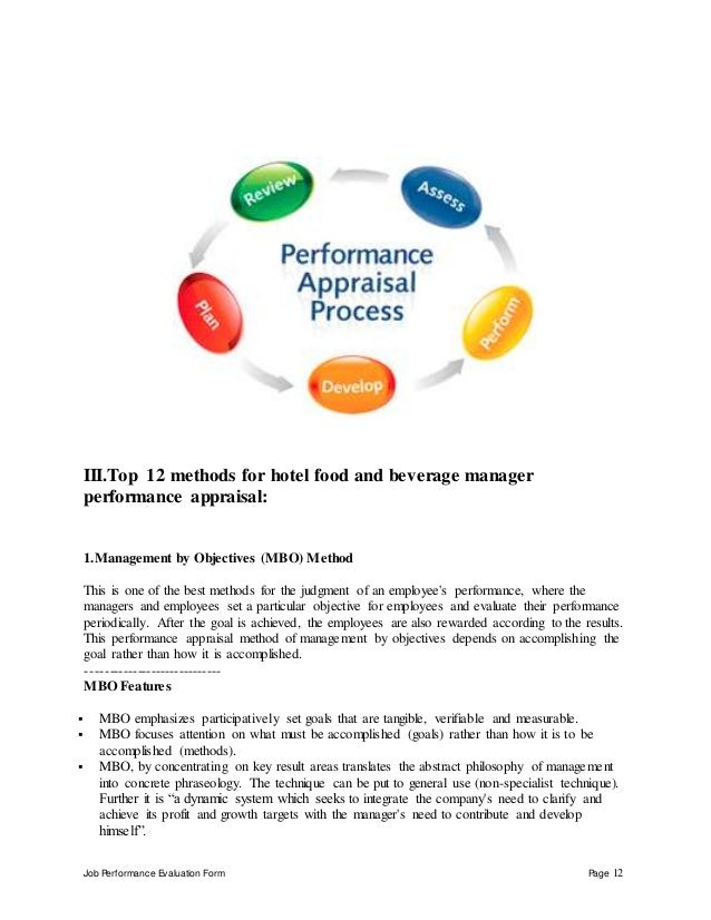 Job Performance Evaluation Form Page 12 III.Top 12 methods for hotel food and beverage manager performance appraisal: 1.Ma...