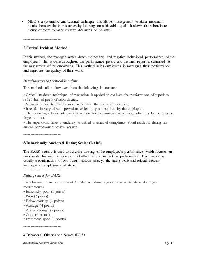 Job Performance Evaluation Form Page 13  MBO is a systematic and rational technique that allows management to attain maxi...