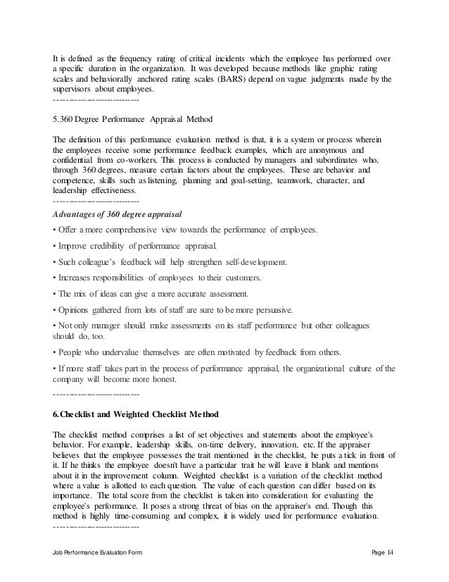 Job Performance Evaluation Form Page 14 It is defined as the frequency rating of critical incidents which the employee has...