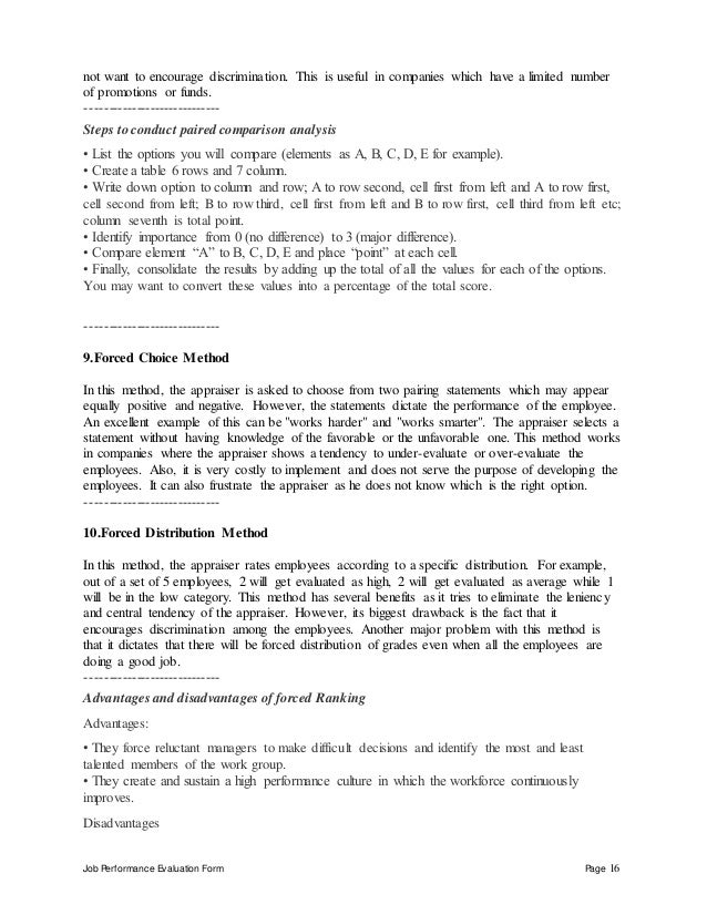 Job Performance Evaluation Form Page 16 not want to encourage discrimination. This is useful in companies which have a lim...
