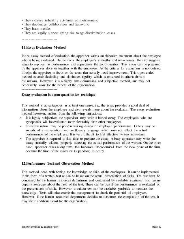 Job Performance Evaluation Form Page 17 • They increase unhealthy cut-throat competitiveness; • They discourage collaborat...