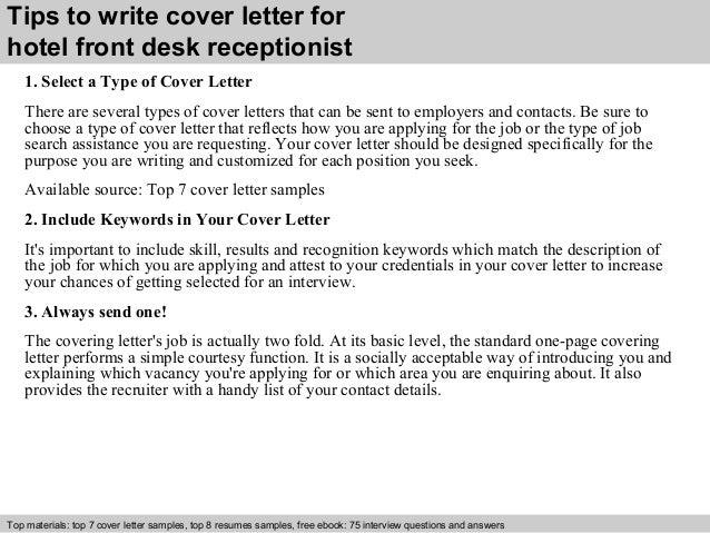 Hotel front desk receptionist cover letter