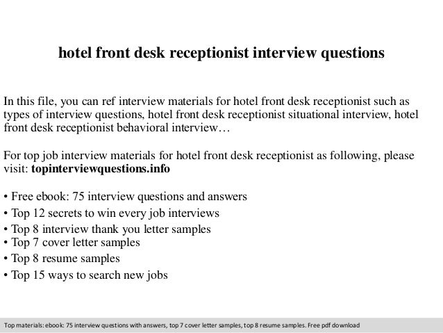 Hotel Front Desk Receptionist Interview Questions In This File, You Can Ref  Interview Materials For ...
