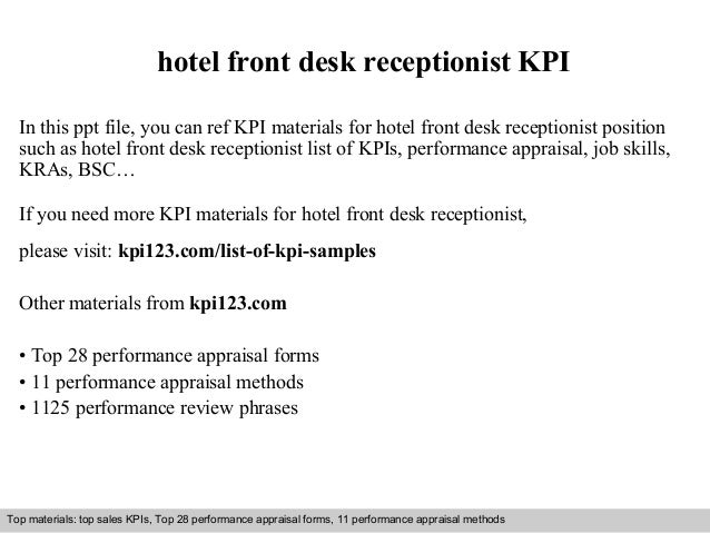 Hotel Front Desk Receptionist Kpi